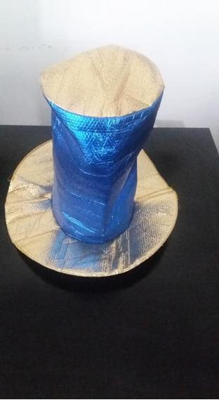 Sombrero Cotillon Dorado Y Azul Alto 30 Cm