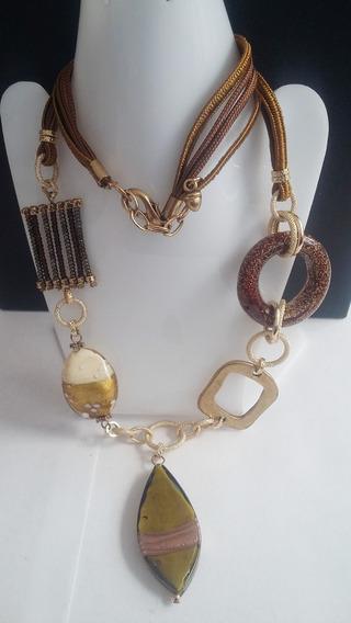 Collar+pulsera+aretes -piedra Ocre Café Textil-