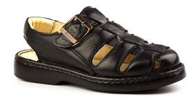 Sandália Masculina 308 Em Couro Floater Preto Doctor Shoes