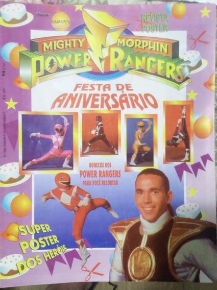 Revista Pôster Power Rangers Nº 01 Festa De Aniversário Rara