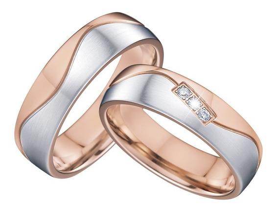 Lindos Pares De Alianças 6 Mm Para Casamento, Noivados E Compromisso Com 3 Banhos A Ouro Rose E Prata + Anel Solitário