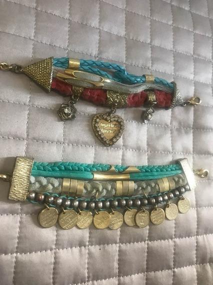 Pulseira Couro Conjunto Dourado Turquesa Laranja Azul Usado