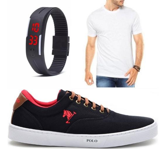 Tenis Masculino Sapatenis Polo C/ Camiseta E Relógio Digital