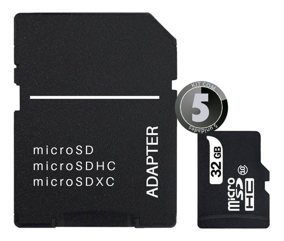 5x Cartão Sd 32gb Classe 10 P/ Câmera Fotográfica Filmadora