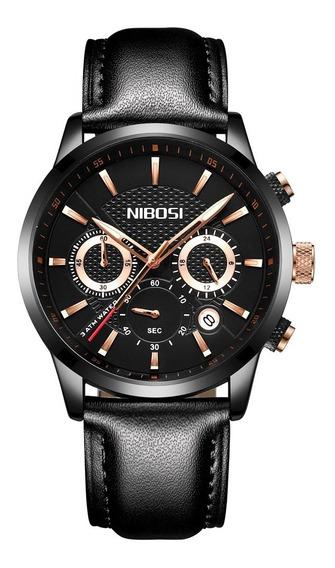 Relogio Nibosi 2313 - Jet Black - Business Casual Quartz