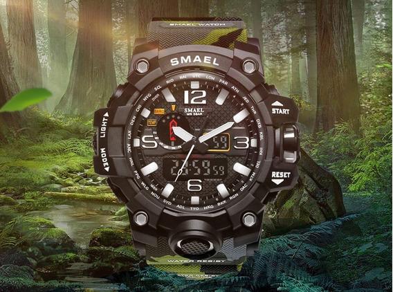 Relógio Smael 1545 Verde Camuflado Original Prova D
