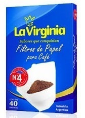 400 Filtros De Papel Cafe N° 4 La Virginia Cafetera
