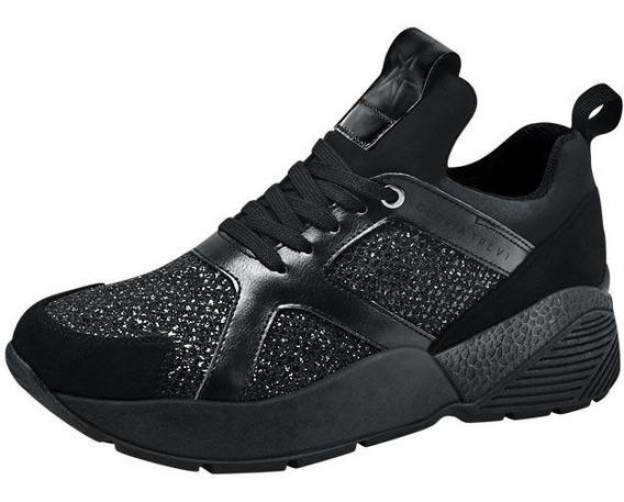 Chunky Sneakers Gloria Trevi Tenis Casual Negro Con Brillo