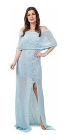 Vestido Longo Feminino De Tricot Crochê Ensaio Para Gestante