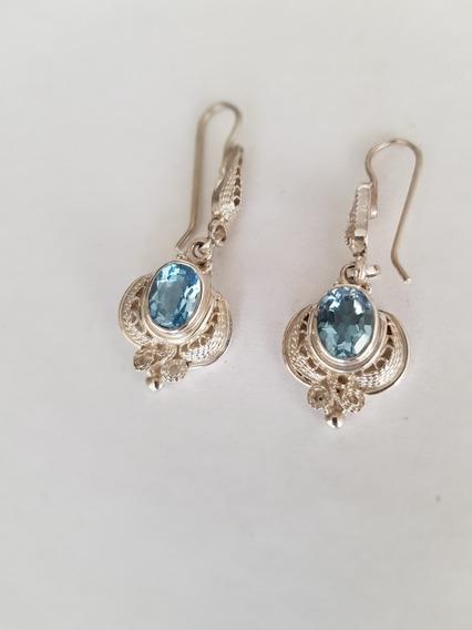 Brincos Prata 950 Pedras Preciosas Topázio Azul Feito À Mão!