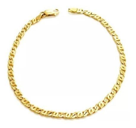 Pulseira Piastrine Maciça Em Ouro 18k (750)