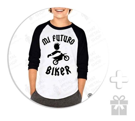 Envío Gratis Playera Raglan Para Niño Mi Futuro Biker