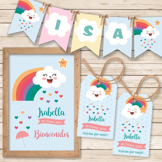 Kit Imprimible Arcoiris Lluvia De Amor Nubes Candy Cumple