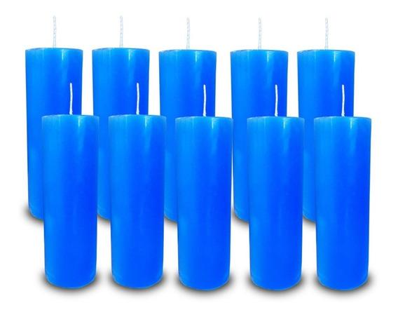 Kit 10 Velas Votivas 7 Sete Dias Colorida Azul