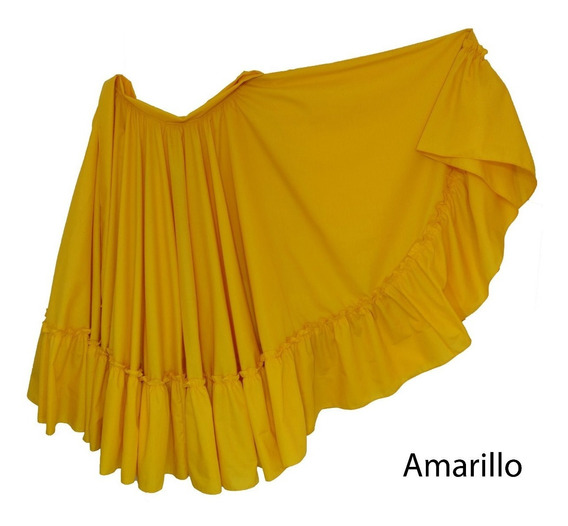 Falda De Danza Folclórica Doble Circular Tallas 8 A 12 Niñas