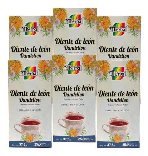 Imagen 1 de 3 de Té Diente De León 25 Sobres Therbal (6 Cajas)