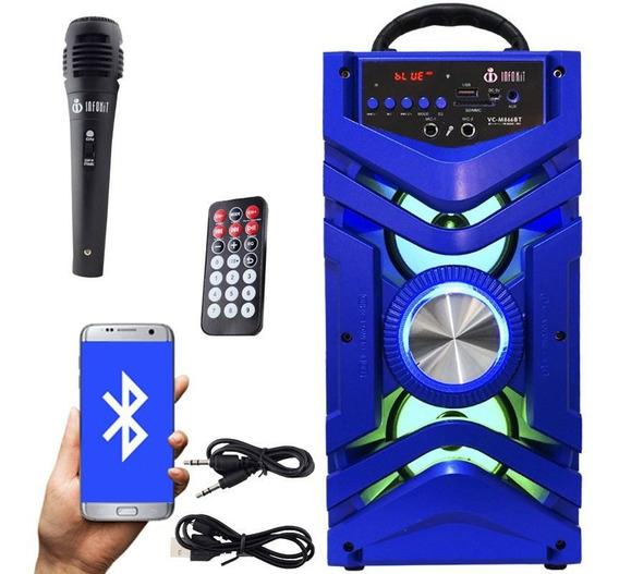 Caixa Som Portátil Bluetooth Azul Amplificada Usb Microfone