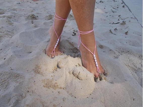 Sandália Noiva Casamento Na Praia E Campo Pérolas E Cordão