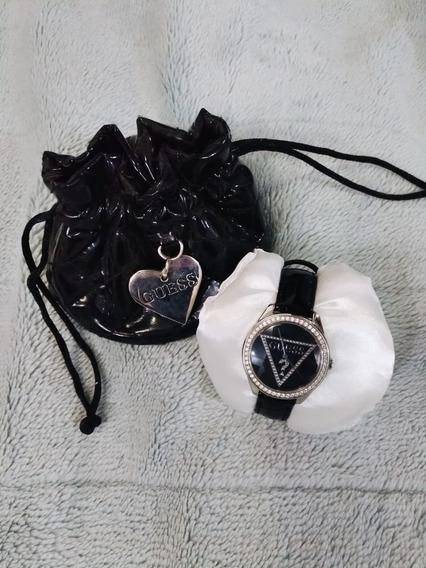 Relógio Guess W65006l2 Feminino Couro Preto Com Cristais