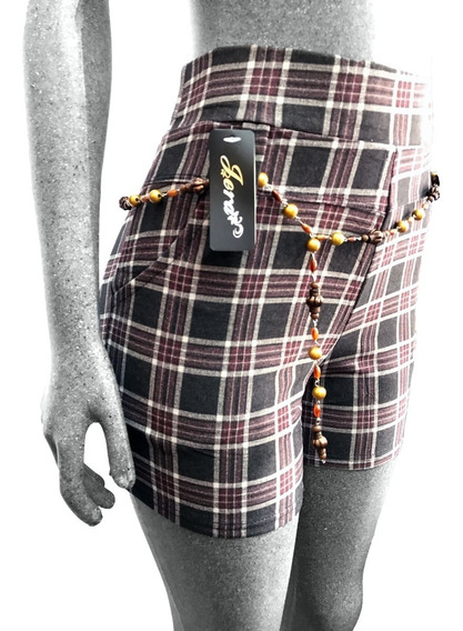 Short Mujer Licra Cuadros Cintura Corto Tiro Alto Casual