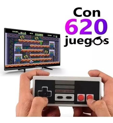 Consola Retro Nintendo Pequeña Y Clásica Con 620 Juegos