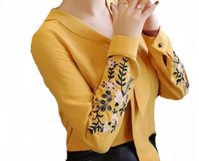 Camisa Feminino Blusa Social Manga Longa Luxo Foto Real