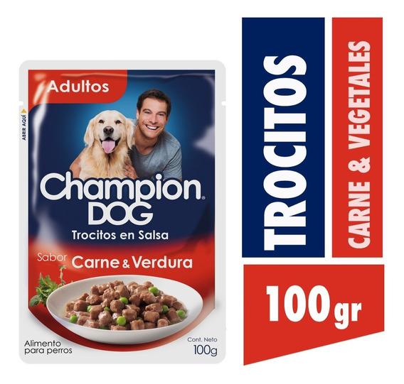 Alimento Perro Champion Trocitos Salsa Carne Verdura 24x100g