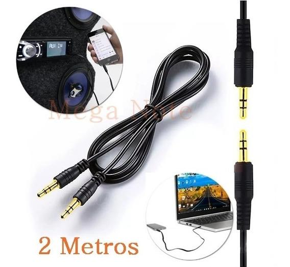 10 Cabo Auxiliar P2 Som Celular iPhone Rádio Carro 2 Metros