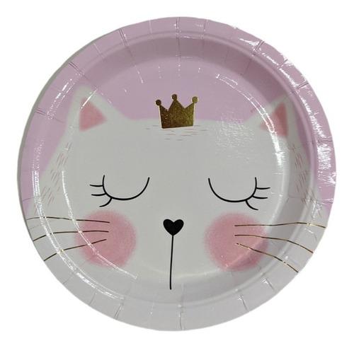 Imagen 1 de 2 de Plato Polipapel Gato Gatita Kitty Princesa Dorado X6 Uni