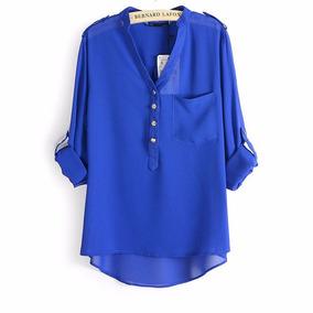 0456700003 Camisa Blusa Feminina Chiffon Seda No Brasil