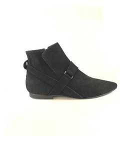 Zapato Mujer Bota En Punta Natacha Gamuza Negra #152
