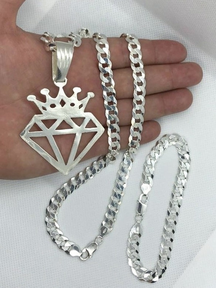 Cordão Pulseira 9mm 70cm+diamante Prata 925+2 Bd