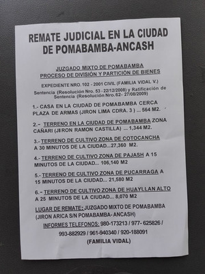 Remate Judicial Pomabamba -ancash