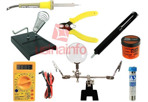 Kit Eletrônica E Solda Iniciante 8 Peças - 220v