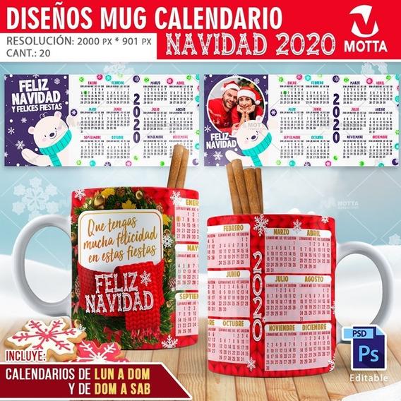 Planillas Para Taza Calendario 2020 Para Sublimar