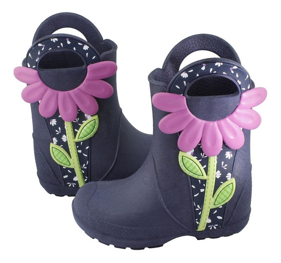 Galocha Plugt Flor Florzinha Infantil - Marinho/pink