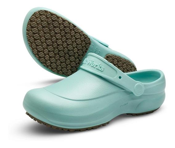 Sapato Soft Works Sandália Babuch Branco Preto Azul Com C.a.