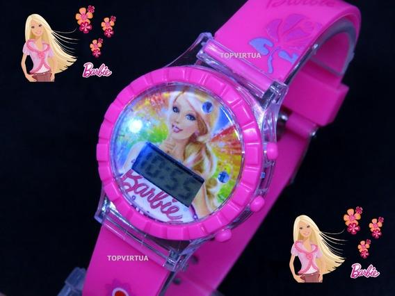 Relógio Barbie Digital Pulseira 3d Som Luz Pink Top Original
