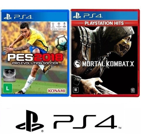 Pes 2018 Futebol + Mortal Kombat X - Midia Fisica - Ps4