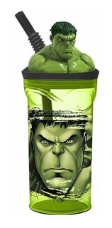 Vaso Infantil Increible Hulk Estatuilla Avengers Con Pajita
