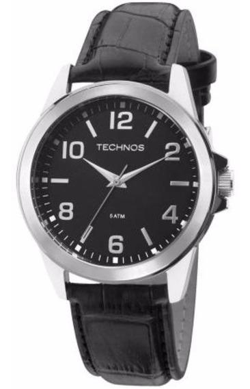 Relógio Masculino Clássico Couro Preto Caixa Prata Technos