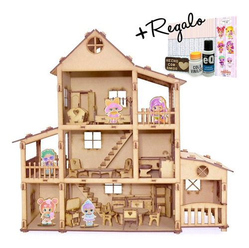 Casita De Muñeca + 36 Muebles Casa Granero Fibrofacil Lolita