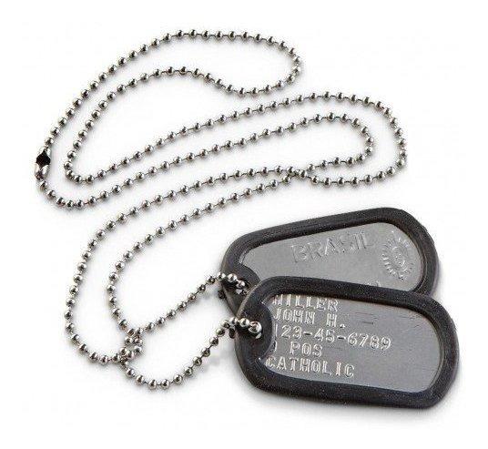 Kit 34 Correntes E Placa Identificação Militar Dog Tag Inox