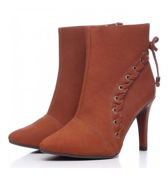 Bota Feminina Ankle Boots Salto Fino Dakota Caramelo