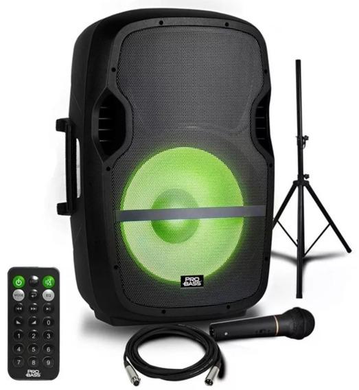 Caixa Amplificada Elevate Lp Usb/sd/bt C/ Led - Pro Bass