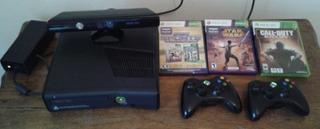 Xbox 360 Slim 4gb + Kinect + 2 Joystick Inal. + 3 Juegos
