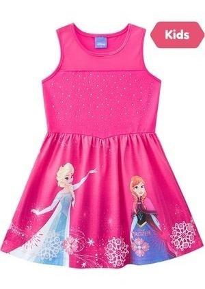 Vestido Brandili Frozen E Elsa Rosa - Tam 4