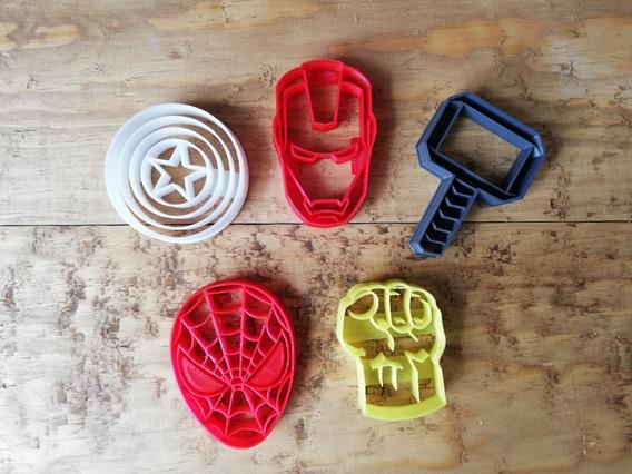 5 Cortadores Para Galleta Fondant Avengers Vengadores Thor