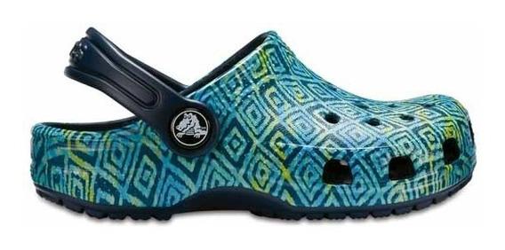 Zapato Crocs Unisex Infantil Classic Graphic Clog Kids Azul