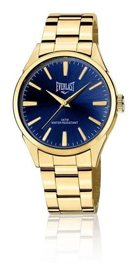 Relógio Pulso Everlast Masculino Aço Dourado E638